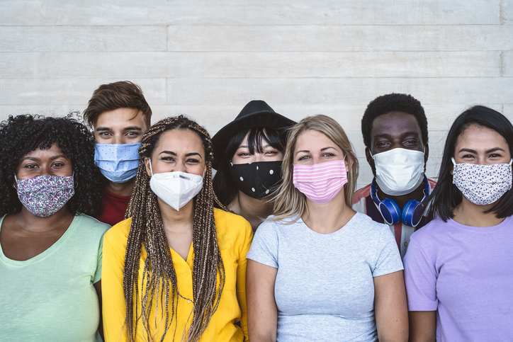 People of different ethnic backgrounds wearing face masks
